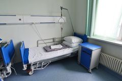 Hospital beds in hospital ward Royalty Free Stock Photo