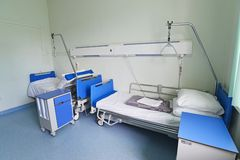 Hospital beds in hospital ward Stock Photo