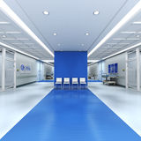 Hospital blue. 3D rendering of a hospital interior with lots of copy space Stock Photos