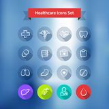 Hospital Blur Background With Flat Icons Set Stock Images