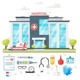 Hospital building with ambulance car Stock Photo