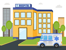 Hospital building with ambulance. Royalty Free Stock Images