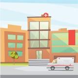 Hospital building cartoon modern vector illustration. Medical Clinic and city background. Emergency room exterior. Hospital building cartoon modern vector stock illustration