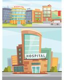 Hospital building cartoon modern vector illustration. Medical Clinic and city background. Emergency room exterior Royalty Free Stock Photo