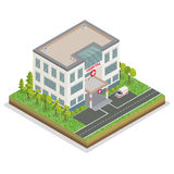 Hospital Building. City Hospital. Medical Center Isometric Stock Images