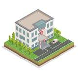 Hospital Building. City Hospital. Medical Center Isometric Stock Images