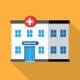 Hospital building or clinic. Medical icon. Flat design vector with long shadow Stock Photography
