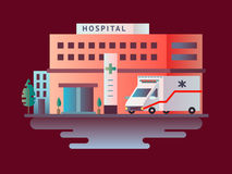 Hospital building design flat Royalty Free Stock Image