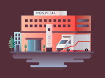 Hospital building design flat Royalty Free Stock Photo