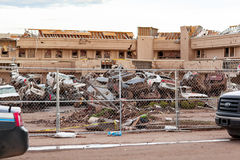 Hospital Building Destroyed by a tornado in daytime Royalty Free Stock Photography