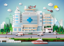 Hospital building. And emergency transport Stock Photography