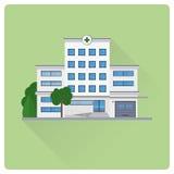 Hospital building flat design vector illustration Royalty Free Stock Photo