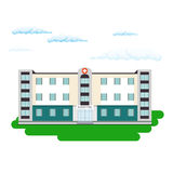 Hospital building in flat style. Outdoor facade Stock Photo