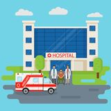 Hospital building in flat style with two doctors and disability patient near entrance. Medical concept. Medicine clinic frontage design with ambulance car Stock Photo