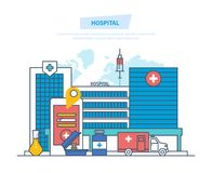 Hospital building, healthcare system, medical facility, safety, first aid, ambulance. Clinic exterior, medical architecture hospital, landscape on background Stock Photos
