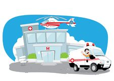 Hospital building with helicopter on its roof and an ambulance hurrying while its driver cheers Stock Photo