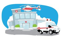 Hospital building with helicopter on its roof and a ambulance hurrying Stock Photo