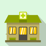 Hospital building icon, flat style Royalty Free Stock Photography
