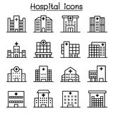 Hospital building icon set in thin line style Royalty Free Stock Photos