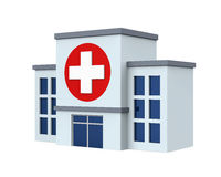 Hospital Building Isolated. On white background. 3D render Stock Photos