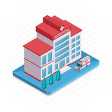 Hospital building. Isometric 3d pixel design icon. Vector illustration for web banners and website infographics Royalty Free Stock Photo