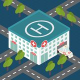 Hospital building, medical flat isometric vector. Hospital building, medical icon. Isometric 3d flat design vector Stock Photo