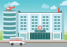 Hospital building with Medical helicopter and ambulance. Stock Images
