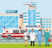 City landscape scene with ambulance truck. Hospital building, medical icon. Healthcare, hospital and medical diagnostics. Urgency and emergency services. Car and Stock Photos