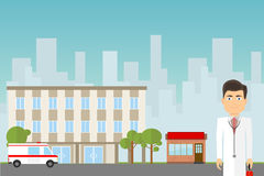 Hospital building. Pharmacy, ambulance and doctor on a background of urban landscape. Flat design, vector illustration, vector Stock Photo