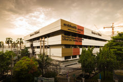Hospital building during twilight time. Bangkok, Thailand - August 23rd 2014: Rajavithi-Edwards Lifesciences Critical Care Training Certer is a building inside Royalty Free Stock Images