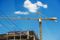 Hospital building under construction with cranes Stock Photography