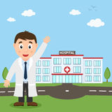 Hospital Building and White Male Doctor Stock Photos