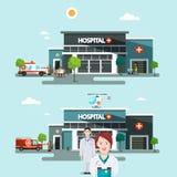 Hospital Buildings with Doctors. Vector Flat Design Illustration royalty free illustration