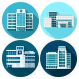 Hospital Buildings Flat Royalty Free Stock Images