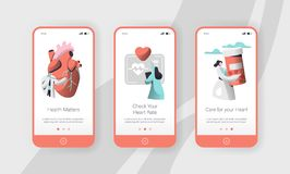 Hospital Cardiology Worker Care Heart Health Mobile App Page Onboard Screen Set Template. Emergency Help First Aid. Or Healthcare Concept for Website. Flat stock illustration