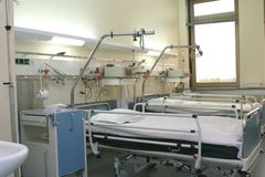 Hospital chamber with cardiology equipment. Hospital room with cardiology equipment and window Stock Image