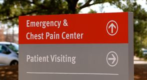 Hospital Chest Pain Center Sign. Hospital Chest Pain Center and Patient Visiting Sign stock photo