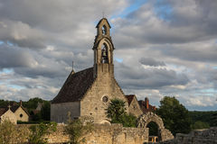 Hospital church, Rocamadour, France. A few ruins of the hospital still visible next to the small Romanesque chapel that was restored during the 15th century Royalty Free Stock Photos
