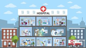 Hospital city building. Hospital city building interior rooms with doctors and patients vector illustration