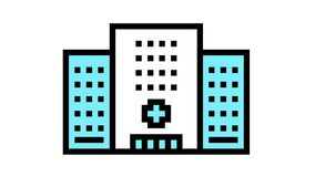 hospital clinic building color icon animation