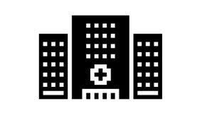 hospital clinic building glyph icon animation