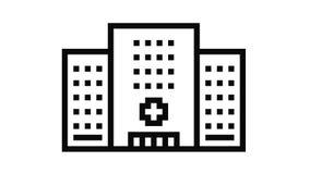 hospital clinic building line icon animation