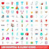 100 hospital and clinic icons set, cartoon style. 100 hospital and clinic icons set in cartoon style for any design vector illustration Stock Photography