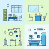 Hospital clinic medical medicine dispensary lab op. Eration room x-ray roentgen doctor cabinet interior indoor set. Linear stroke outline flat style vector icons Stock Photo