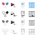 Hospital, clinic, pharmacy and other web icon in cartoon style. Means, elixir, equipment, icons in set collection. Hospital, clinic, pharmacy and other  icon in Royalty Free Stock Photography