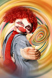 Hospital clown offering psychedelic lolly hypnosis Royalty Free Stock Image