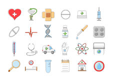 Hospital colorful  icons set. Set of 24 Hospital colorful  icons Stock Photography
