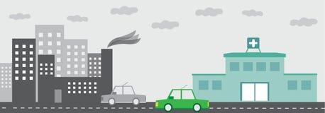 Hospital com construção da fábrica com paisagem da poluição e com carro Foto de Stock Royalty Free