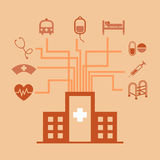 Hospital concept idea in flat style Royalty Free Stock Image