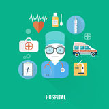 Hospital concept with item icons. Doctor with first aid kit in flat design style Royalty Free Stock Photos